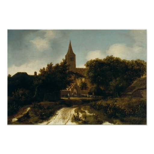 Wooded Landscape with Figures near a Church Posters