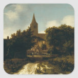 Wooded Landscape with Figures near a Church Square Sticker