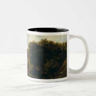 Wooded Landscape with Figures near a Church Two-Tone Coffee Mug