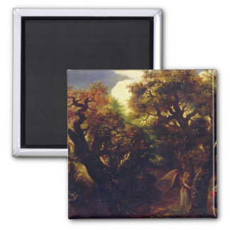 Wooded Landscape with Hagar and the Angel 2 Inch Square Magnet