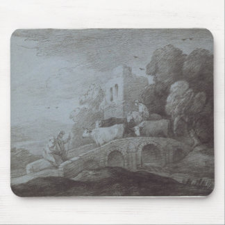 Wooded Landscape with Herdsman Driving Cattle (etc Mouse Pad