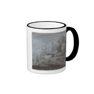 Wooded Landscape with Herdsman Driving Cattle (etc Ringer Coffee Mug