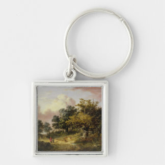 Wooded Landscape with Woman and Child Walking Down Keychain