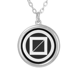 Wooded measure in circle silver plated necklace