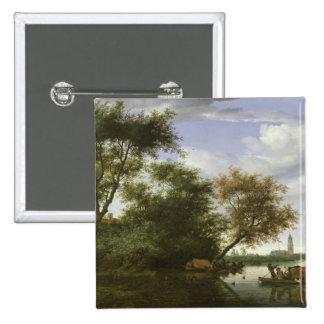 Wooded river landscape pinback button