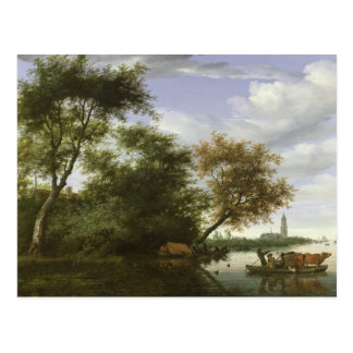 Wooded river landscape postcard
