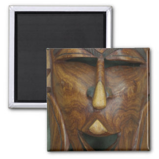 Wooden African mask 2 Inch Square Magnet