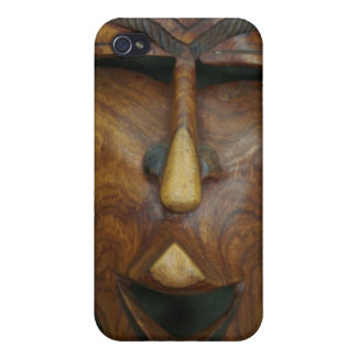 Wooden African mask iPhone 4 Cases