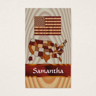 Wooden American flag and map Business Card