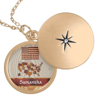 Wooden American flag and map Gold Plated Necklace