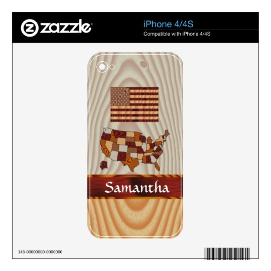 Wooden American flag and map iPhone 4 Decal