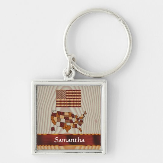 Wooden American flag and map Keychain