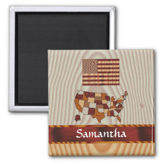 Wooden American flag and map Magnet