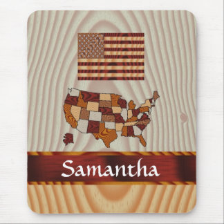 Wooden American flag and map Mouse Pad