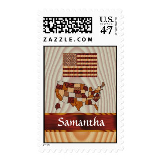 Wooden American flag and map Postage