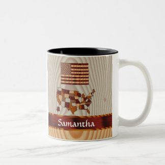 Wooden American flag and map Two-Tone Coffee Mug