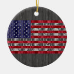 Wooden American Flag Christmas Tree Ornament