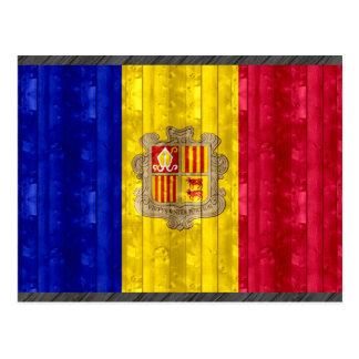 Wooden Andorran Flag Postcard