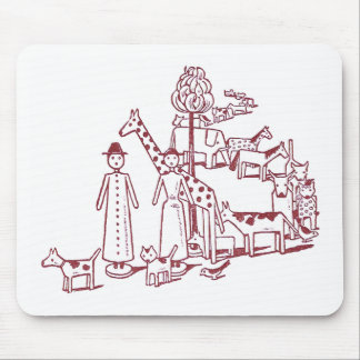 Wooden Animals on a Queue Mouse Pad