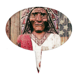 Wooden Antique Cigar Store Indian Cake Pick