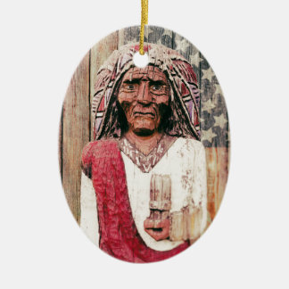 Wooden Antique Cigar Store Indian Ceramic Ornament