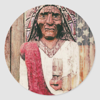 Wooden Antique Cigar Store Indian Classic Round Sticker