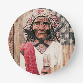 Wooden Antique Cigar Store Indian Clocks