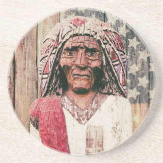 Wooden Antique Cigar Store Indian Coasters