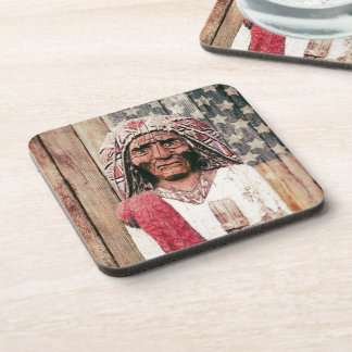 Wooden Antique Cigar Store Indian Beverage Coasters