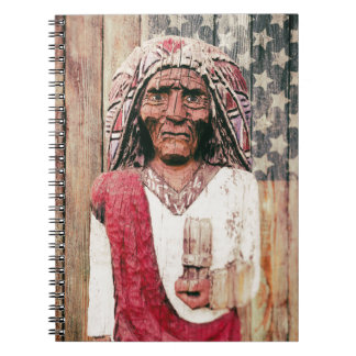 Wooden Antique Cigar Store Indian Spiral Notebook