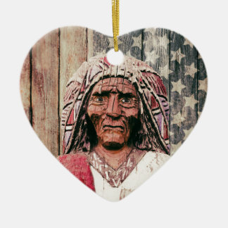 Wooden Antique Cigar Store Indian Christmas Ornaments