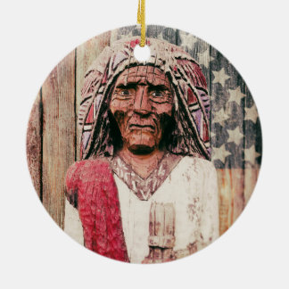 Wooden Antique Cigar Store Indian Christmas Tree Ornament