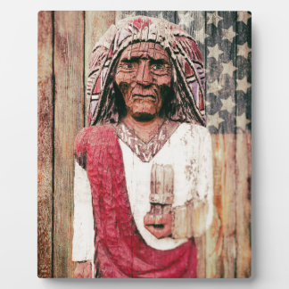 Wooden Antique Cigar Store Indian Photo Plaques