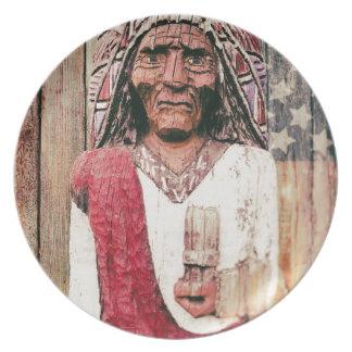 Wooden Antique Cigar Store Indian Dinner Plates