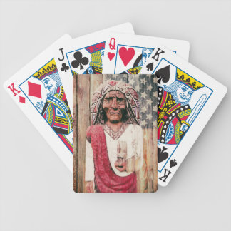 Wooden Antique Cigar Store Indian Poker Cards