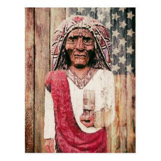 Wooden Antique Cigar Store Indian Postcard