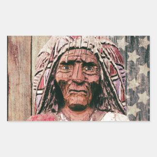 Wooden Antique Cigar Store Indian Rectangular Sticker