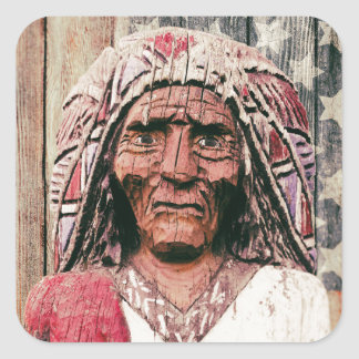 Wooden Antique Cigar Store Indian Square Sticker