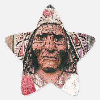 Wooden Antique Cigar Store Indian Star Sticker