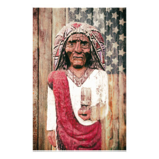 Wooden Antique Cigar Store Indian Custom Stationery