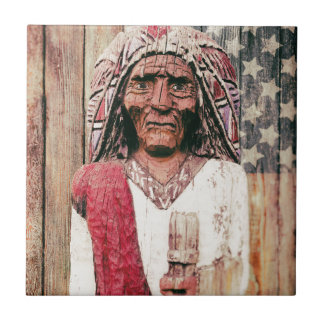Wooden Antique Cigar Store Indian Tiles