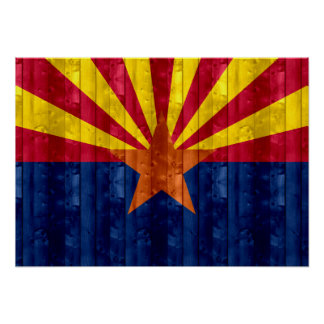 Wooden Arizonan Flag Poster