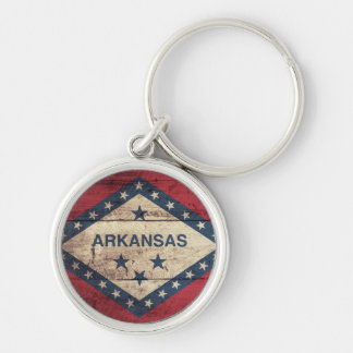 Wooden Arkansas Flag Silver-Colored Round Keychain