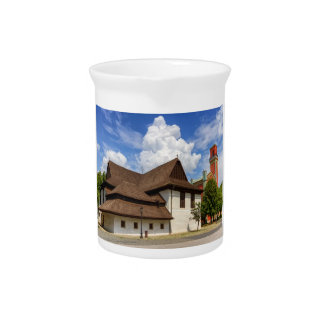 Wooden articular church in Kezmarok, Slovakia Drink Pitchers
