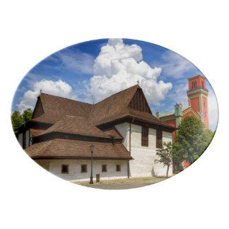 Wooden articular church in Kezmarok, Slovakia Porcelain Serving Platter