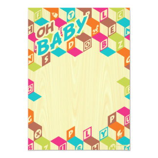 Wooden Baby Blocks Baby Shower Invitations