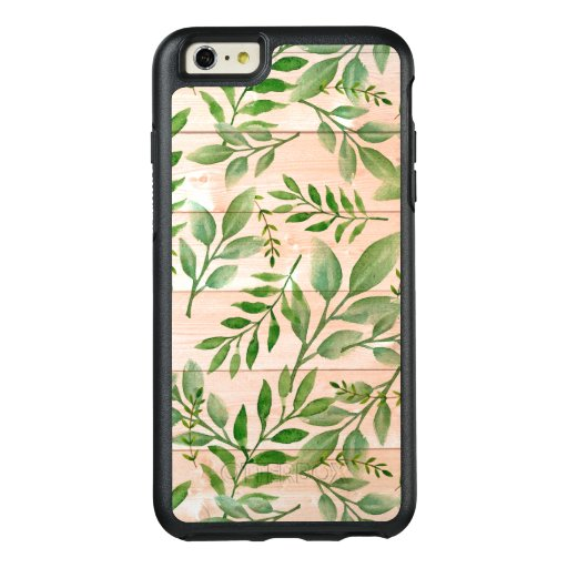 Wooden Background And Watercolor Leaves OtterBox iPhone 6/6s Plus Case