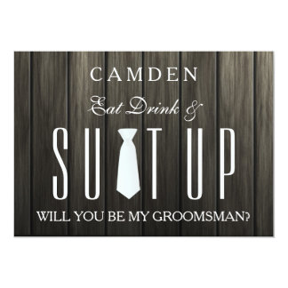 Wooden Background Suitup Will you be my groomsman Card