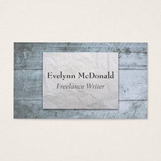 Wooden Background Wrinkled Paper Freelance Writer Business Card