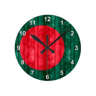 Wooden Bangladeshi Flag Round Clock
